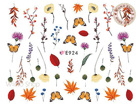 E924 Butterfly Flower Adhesive Nail Art Sticker - 1 pc