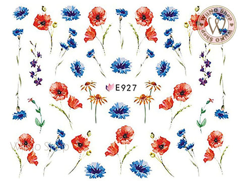 E927 Blue Red Watercolor Flower Adhesive Nail Art Sticker - 1 pc