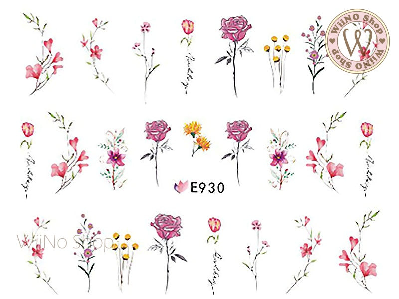 E930 Vintage Flowers Adhesive Nail Art Sticker - 1 pc