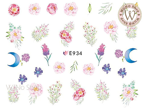 E934 Watercolor Peony Flower Adhesive Nail Art Sticker - 1 pc