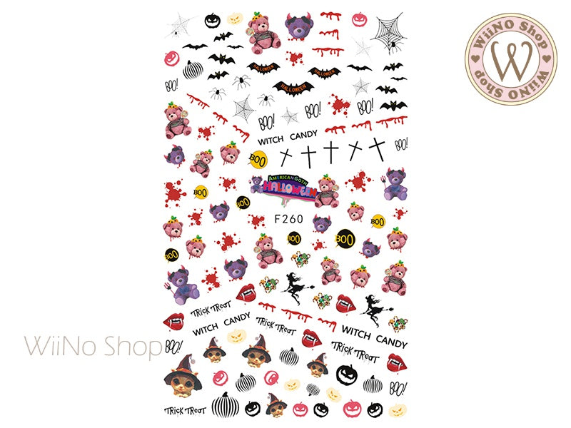 Halloween Teddy Bear Adhesive Nail Art Sticker - 1 pc (F260)