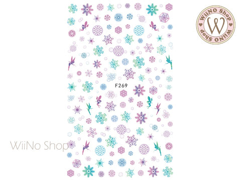 Purple Turquoise Snowflake Adhesive Nail Art Sticker - 1 pc (F269)