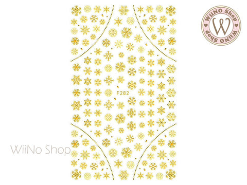 Gold Snowflake Adhesive Nail Art Sticker - 1 pc (F282G)