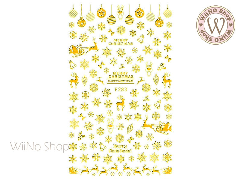 Gold Snowflake Adhesive Nail Art Sticker - 1 pc (F283G)