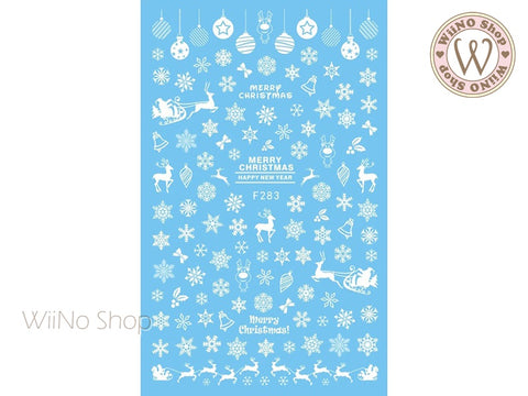 White Snowflake Adhesive Nail Art Sticker - 1 pc (F283W)