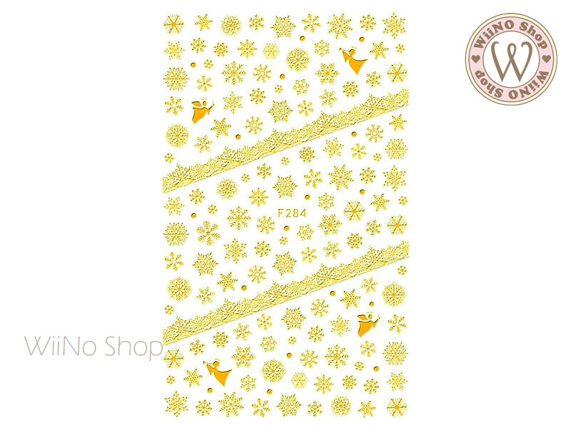 Gold Snowflake Adhesive Nail Art Sticker - 1 pc (F284G)