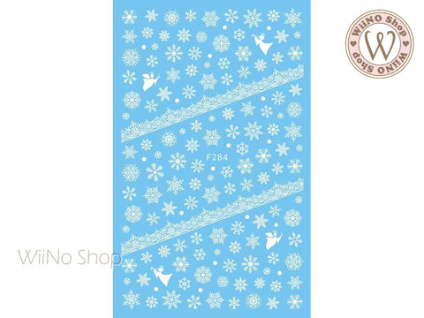 White Snowflake Adhesive Nail Art Sticker - 1 pc (F284W)
