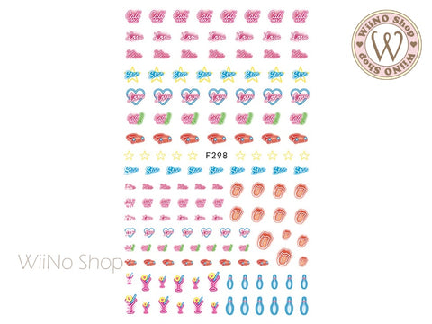 Date Night Neon Light Adhesive Nail Art Sticker - 1 pc (F298)