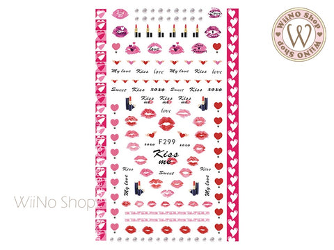 Kiss Me Adhesive Nail Art Sticker - 1 pc (F299)