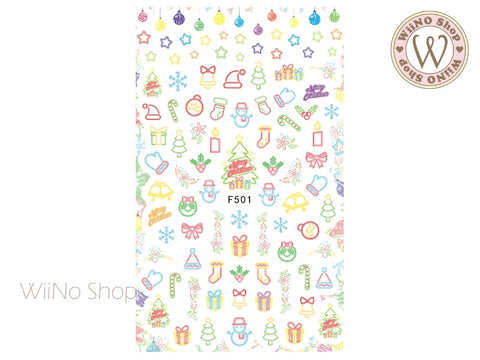 Christmas Neon Light Adhesive Nail Art Sticker - 1 pc (F501)