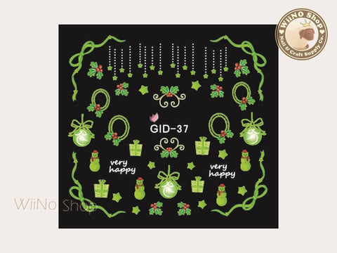 GID-037 Christmas Glow In The Dark Water Slide Nail Art Decals - 1pc