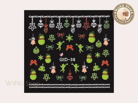 GID-038 Christmas Glow In The Dark Water Slide Nail Art Decals - 1pc