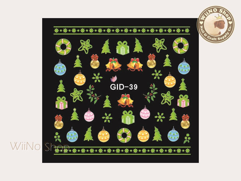 GID-039 Christmas Glow In The Dark Water Slide Nail Art Decals - 1pc