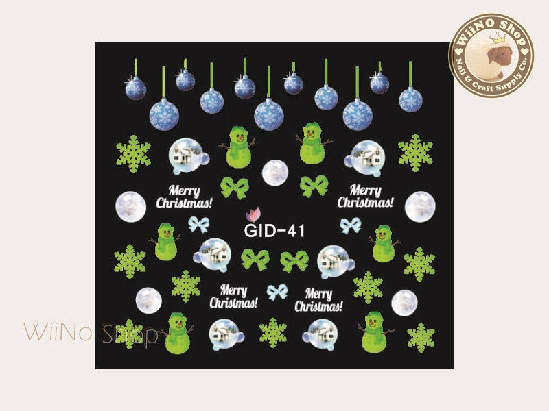 GID-041 Christmas Glow In The Dark Water Slide Nail Art Decals - 1pc