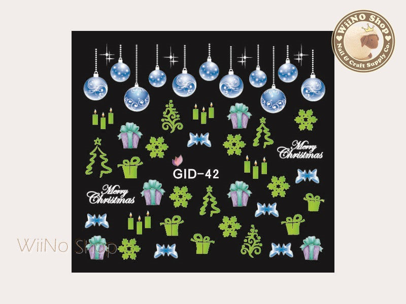 GID-042 Christmas Glow In The Dark Water Slide Nail Art Decals - 1pc