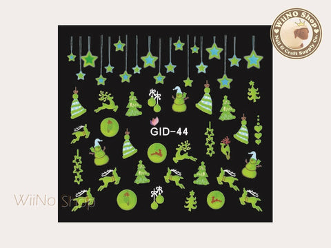 GID-044 Christmas Glow In The Dark Water Slide Nail Art Decals - 1pc