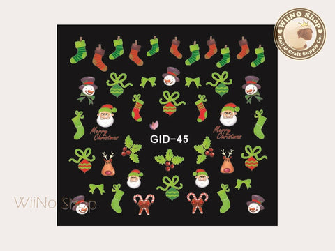 GID-045 Christmas Glow In The Dark Water Slide Nail Art Decals - 1pc