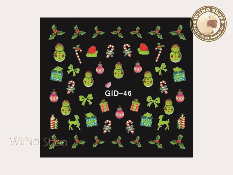 GID-046 Christmas Glow In The Dark Water Slide Nail Art Decals - 1pc