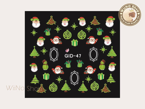 GID-047 Christmas Glow In The Dark Water Slide Nail Art Decals - 1pc