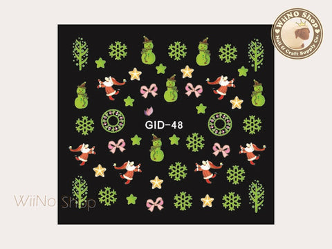 GID-048 Christmas Glow In The Dark Water Slide Nail Art Decals - 1pc