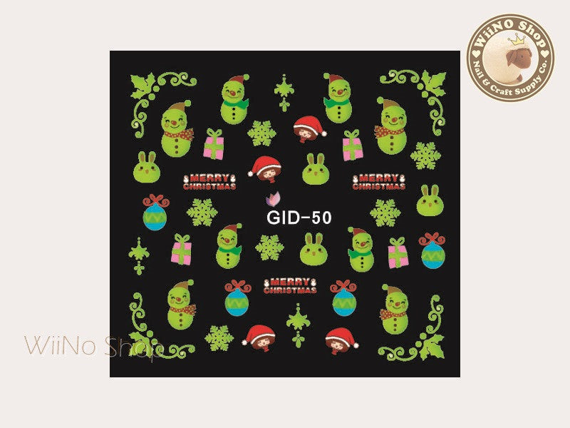 GID-050 Christmas Glow In The Dark Water Slide Nail Art Decals - 1pc