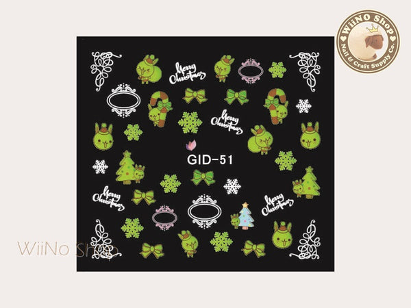 GID-051 Christmas Glow In The Dark Water Slide Nail Art Decals - 1pc