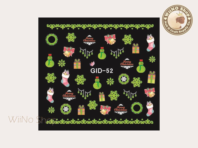 GID-052 Christmas Glow In The Dark Water Slide Nail Art Decals - 1pc