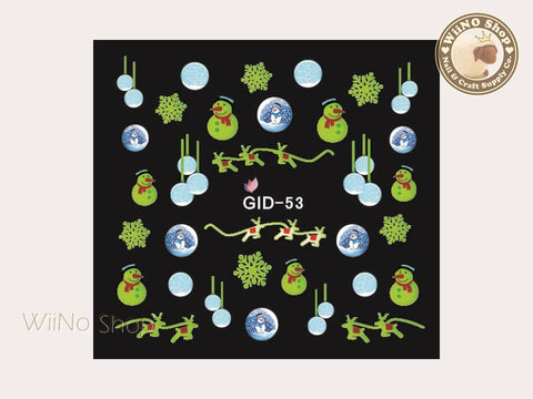 GID-053 Christmas Glow In The Dark Water Slide Nail Art Decals - 1pc