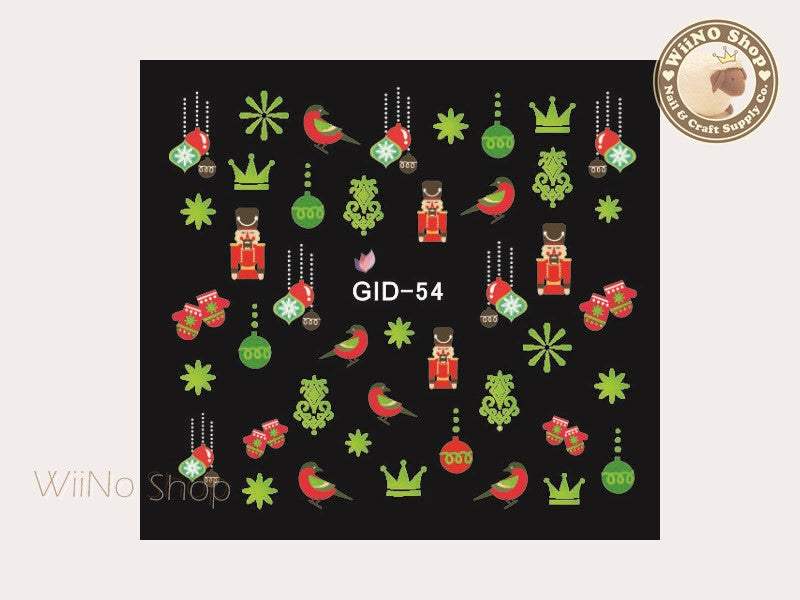 GID-054 Christmas Glow In The Dark Water Slide Nail Art Decals - 1pc