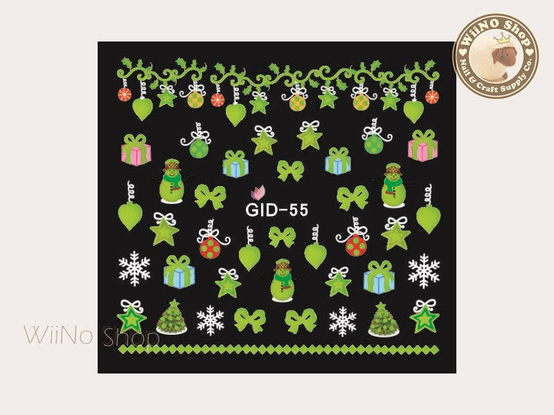 GID-055 Christmas Glow In The Dark Water Slide Nail Art Decals - 1pc