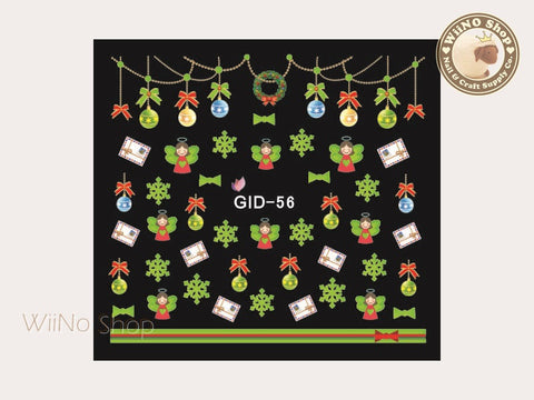 GID-056 Christmas Glow In The Dark Water Slide Nail Art Decals - 1pc