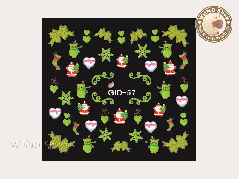 GID-057 Christmas Glow In The Dark Water Slide Nail Art Decals - 1pc