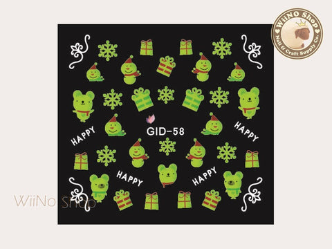 GID-058 Christmas Glow In The Dark Water Slide Nail Art Decals - 1pc