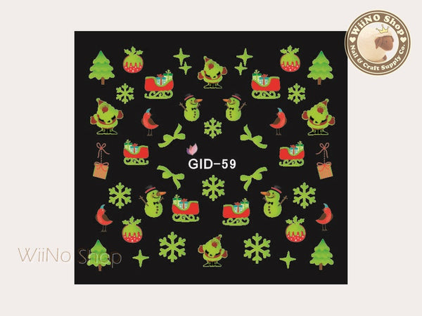 GID-059 Christmas Glow In The Dark Water Slide Nail Art Decals - 1pc
