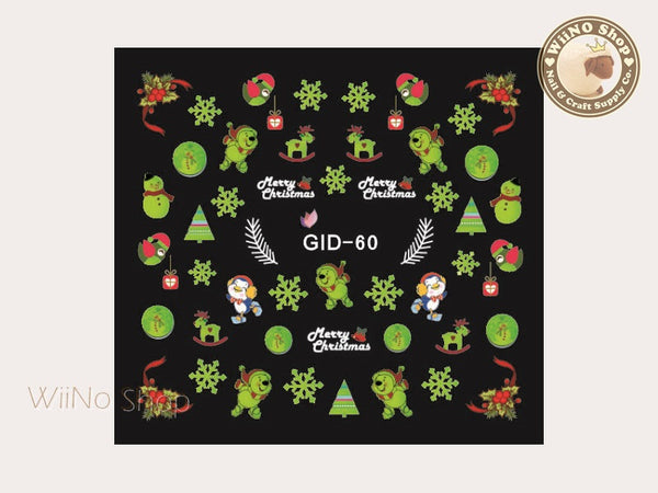 GID-060 Christmas Glow In The Dark Water Slide Nail Art Decals - 1pc