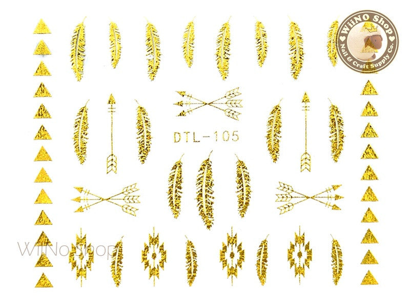 Gold Tribal Feather Adhesive Nail Art Sticker - 1 pc (DTL-105G)