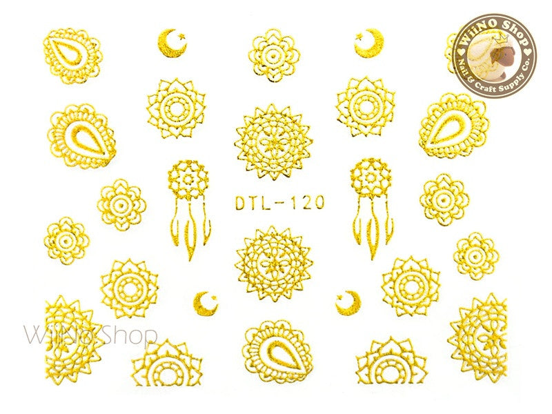 Gold Sun & Moon Tribal Adhesive Nail Art Sticker - 1 pc (DTL-120G)