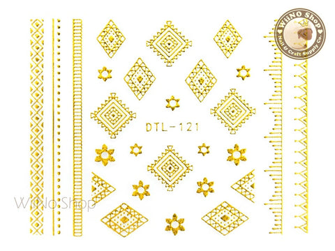 Gold Flower Tribal Adhesive Nail Art Sticker - 1 pc (DTL-121G)