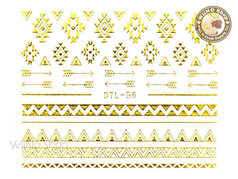 Gold Arrow Geometric Pattern Nail Art Sticker - 1 pc (DTL-96G)