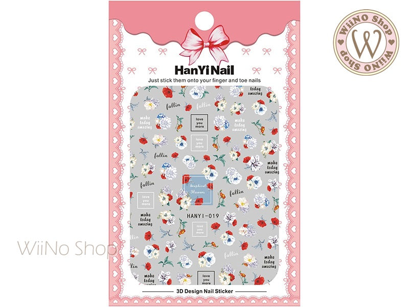 Watercolor Floral Adhesive Nail Art Sticker - 1 pc (HY-019)
