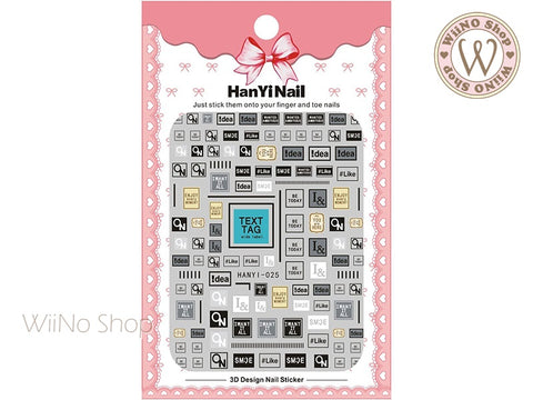 Text Tag Adhesive Nail Art Sticker - 1 pc (HY-025)