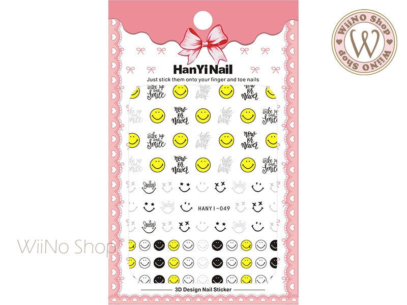 Happy Face Adhesive Nail Art Sticker - 1 pc (HY-049)