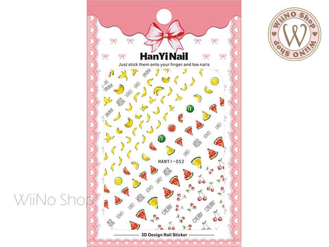 Banana Watermelon Cherry Adhesive Nail Art Sticker - 1 pc (HY-052)