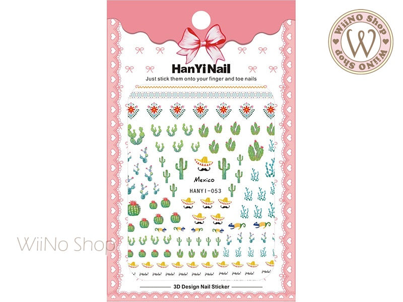 Cactus Adhesive Nail Art Sticker - 1 pc (HY-053)