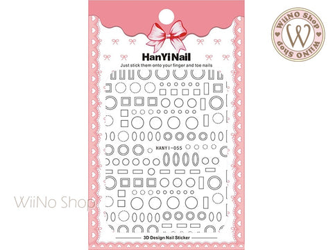Black Frame Adhesive Nail Art Sticker - 1 pc (HY-055)