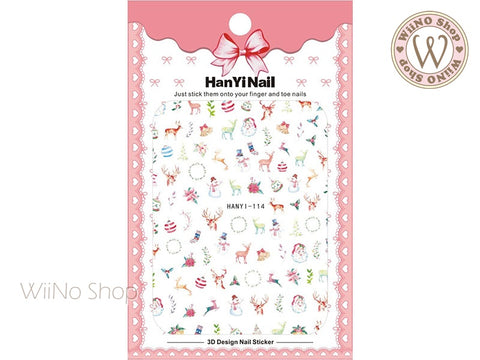 Watercolor Christmas Adhesive Nail Art Sticker - 1 pc (HY-114)