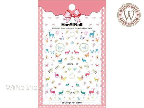 Watercolor Reindeer Adhesive Nail Art Sticker - 1 pc (HY-115)