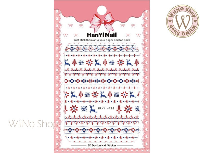 Reindeer Sweater Pattern Adhesive Nail Art Sticker - 1 pc (HY-118)