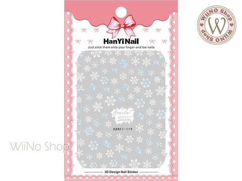Blue White Snowflake Adhesive Nail Art Sticker - 1 pc (HY-119)