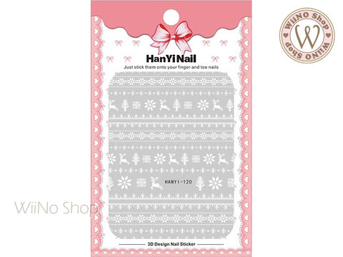 White Reindeer Sweater Pattern Adhesive Nail Art Sticker - 1 pc (HY-120)